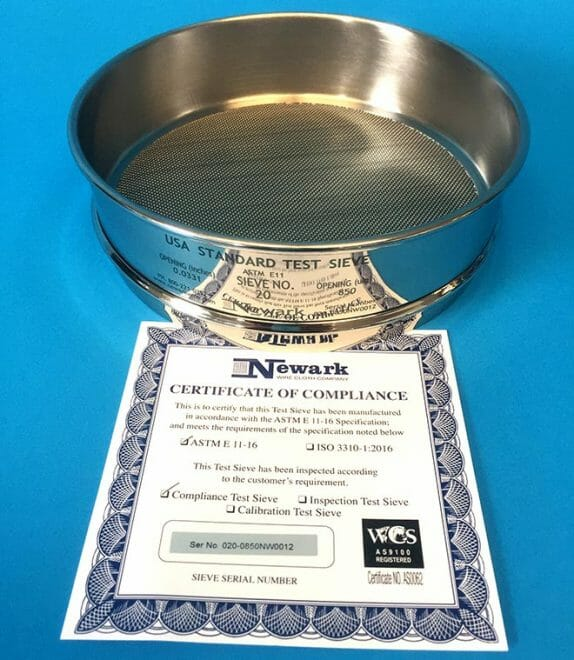Test Sieves Certificate